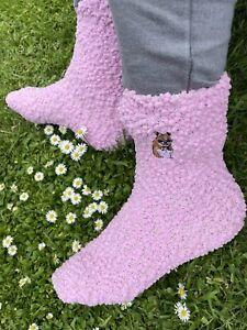 Ladies Hamster Slipper Socks Embroidered Socks Hamster Gift Idea