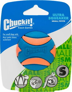 Chuckit! Ultra Squeaker Ball Dog Toy, Orange & Blue, Small
