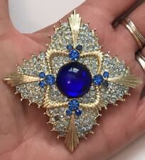 "RARE Vintage Maltese Cross Blue Rhinestone Sapphire Glass Cabochon Brooch Pin 3"""