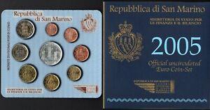 San Marino - Folder Serie completa monete divisionali fior di conio, 2005