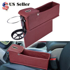 PU Car Seat Crevice Storage Box Caddy Gap Pocket w/ Cup Holder Brown