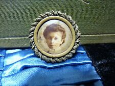 Antique Celluloid Photo Picture Button Badge colored photo memory in ROPE FRAME