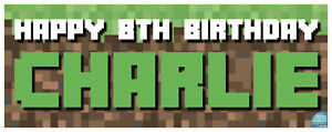 Minecraft Birthday Banners - Personalised - Any Age, Any Name - Fast Delivery