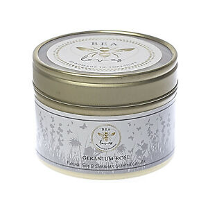 Bea Loves Natural Scented Soy Wax & Pure Beeswax 130g Candle Tin: Geranium Rose