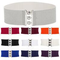 Women Wide Metal Buckle Stretch Elastic Waist Band Corset Belt Waistband Belts