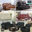 REAL GENUINE LEATHER RECLINER SOFA 3+2+1 SUITE NEW BLACK BROWN CREAM SOFAS SALE
