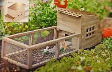 Dollhouse Miniature Weathered Garden Chicken Coop w/ Chickens