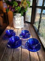 4 SETS Vintage Vereco France Tea Cups & Saucers, COBALT BLUE Rivage SWIRL Glass