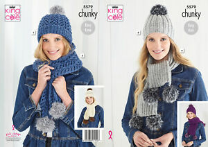 King Cole Ladies Chunky Knitting Pattern Womens Easy Knit Hats & Scarves 5579