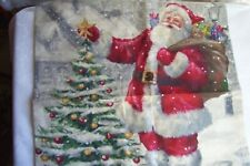 "NEW! Christmas Tree,Santa Claus,Snow,Gifts.Cover.17"" square.w.Zipper.Linen"