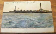 1908 UDB COLOR Postcard/TWIN LIGHTS THATCHERS ISLAND/BASS ROCKS, GLOUCESTER, MA