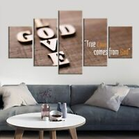 Love God Christian Jesus Quote 5 panel canvas Wall Art Home Decor Print Poster