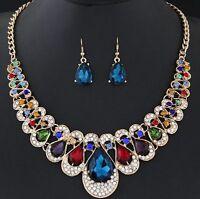 Women Crystal Bib Stone Chain Pendant Choker Statement Necklace Set Earrings