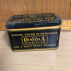 Vintage Crayola Crayons Binny & Smith AN-DU-SEPTIC Chalk Tin Box Black Retro