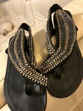 Bakers Leather Flat Beaded Sandals Sz 8