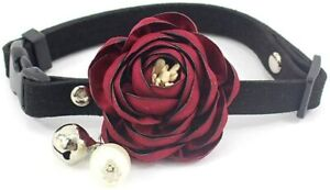 Peony Flower Cat Dog Collar Bow Tie Suede Puppy Necklace with Bell Pearl XS Size