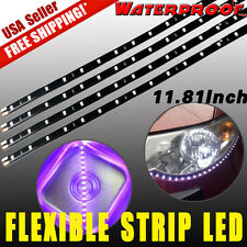 4x Pink Waterproof 15 LED 30cm Car Lighting Flexible Lamp Strip Decorative Light