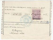 R. Manicomio di Anversa - Quietanza con Marca da bollo a tassa fissa  - 1872