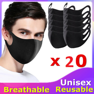 New 20PCS Washable Reusable Face Mask Breathable Safety Mouth Mask Shopping UK