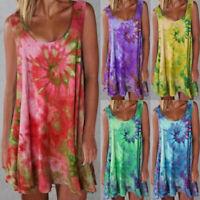 Women Summer Crew Neck Tank Dress Boho Floral Dress Casual Loose Short Sundress
