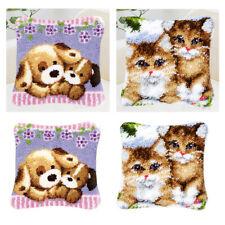2 Set Animal Pattern Latch Hook Pillow Kits Diy Home Bedroom Ornament Hand Craft