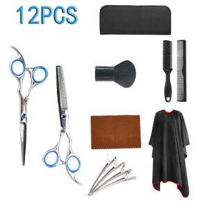 12 tlg Haarschere Set Friseurschere Set Haarschneideschere Effilierschere Set