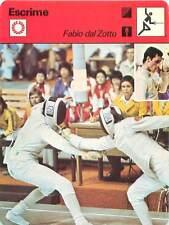 FICHE CARD: Fabio Dal Zotto ITALY Fleuret Foil   Escrimeur FENCING ESCRIME 1970s