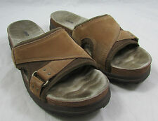 JEEP Women's Brown Leather Slip-On Sandals Slides Shoes Size 8.5M