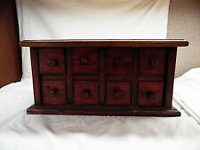 8 Drawer Apothecary, Spice / Jewlery Chest - Distressed Red with Natural Top