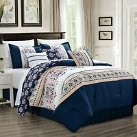 7 Piece Bed In A Bag, Super Soft Luxurious Patchwork Navy Comforter Set (21608)