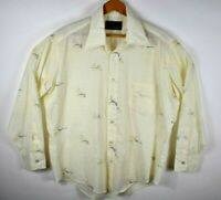 Vintage Sears Peacock Perma Prest Mens Button S/S Shirt Sz 16.5 - 33