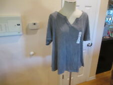 86f8f2813a2 Terra   Sky Gray Womens Plus Short sleeve relaxed Notch Neck Tee 0X 14W NWT