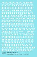 K4 O Decals White 1/4 Inch Penn Roman Letter Number Alphabet Set