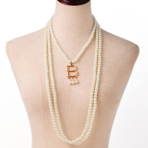 Vintage 3 Loops Anne Boleyn B Letter Pearl Necklace Cosplay Costume Necklace