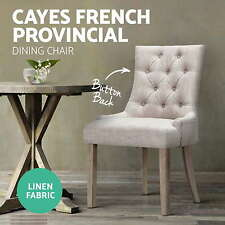 French Provincial Dining Chair Rubber Wood Legs 13cm Thick Cushioning Beige