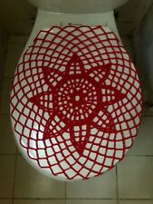Handmade Crochet Round Toilet Lid/Seat Cover Red #6