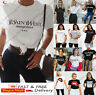 Vogue Ladies Short Sleeve Womens Slogan Printed Fashion Summer T-shirt Tee Tops