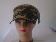 100% COTTON CADET MILITARY STYLE HAT ARMY CASTRO CAP  GREEN CAMOUFLAGE