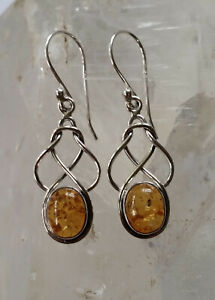 291 Amber Celtic Solid 925 Sterling Silver Knot Gemstone Earrings rrp$69.95