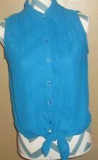Womens Size XS Express Sleeveless Blue Transparent Button Up V-Neck Blouse Sheer