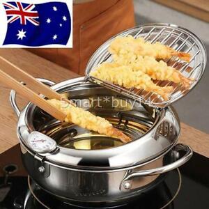 Japanese Deep Frying Pot Tempura Fryer Pan Temperature Control Fried Chicken AU
