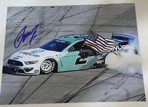 Brad Keselowski autographed MONEY LION 8x10 TALLADEGA 2021 WIN BURNOUT photo USA