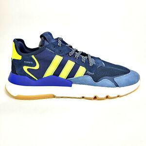 Adidas Mens 12 Nite Jogger Gum Running Shoes Navy Blue Solar Yellow EG2956 Box