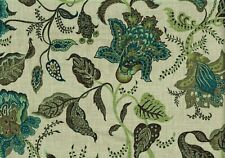 4.75 Yds Microfibres Fabrics Teal Green Brown Linen Drapery Upholstery