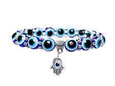 Hamsa Fatima Blue Evil Eye Kabbalah Lucky Bead Charm Bracelet Friendship Jewish