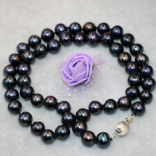 """Fashion 9-10mm natural freshwater black pearl necklace 18""""AAA"""