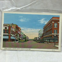 Vtg Postcard North Platte Nebraska Dewey Street Looking North Scene Unused Curt