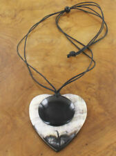 NECKLACE –  CREAM-GREY HORN HEART PENDANT WITH BLACK HORN DISC - NEC 39