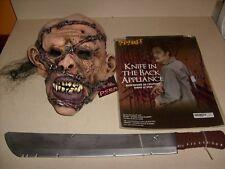 WALKING DEAD ZOMBIE MASK KNIFE IN BACK & MACHETE DELUXE HALLOWEEN COSTUME NEW