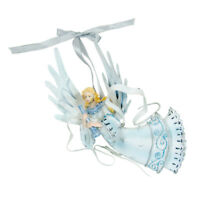 """5"""" Christmas Angel Holiday Ornament Light Blue Winter Dress Horn Sparkle Wings"""